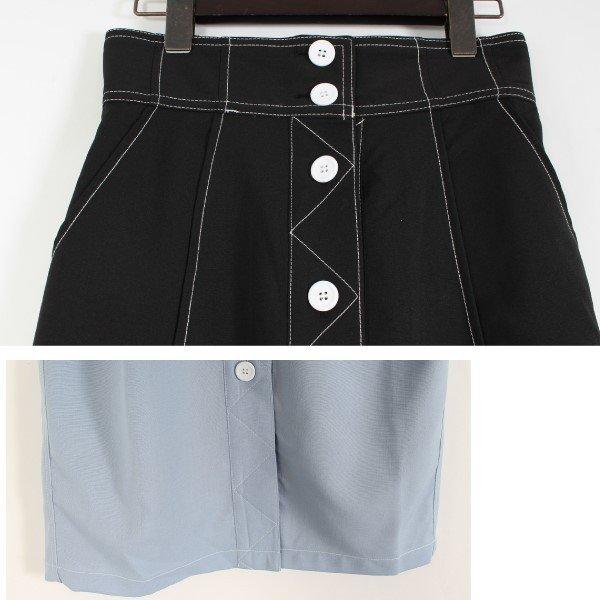 ポーラフロント釦ステッチタイトスカート