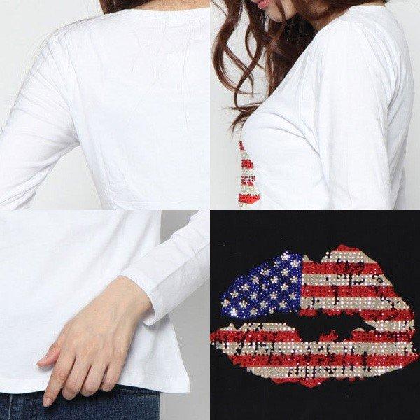 ストーン付プリント長袖Tシャツ