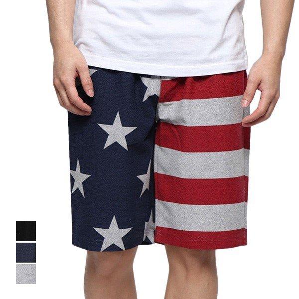 ミニ裏毛星条旗プリント膝上スウェットハーフパンツ