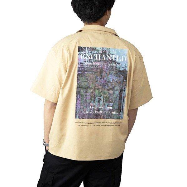 ビッグシルエットフォトバックプリントオープンシャツ