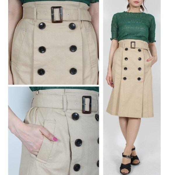 綿ツイルベルト付きタックトレンチスカート