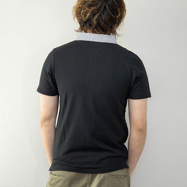 鹿の子ストライプ柄クレリック衿ポロシャツ