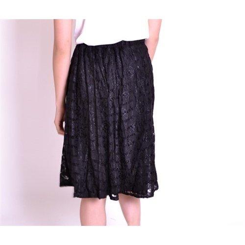 ボーダーレースフレアミディ丈スカート