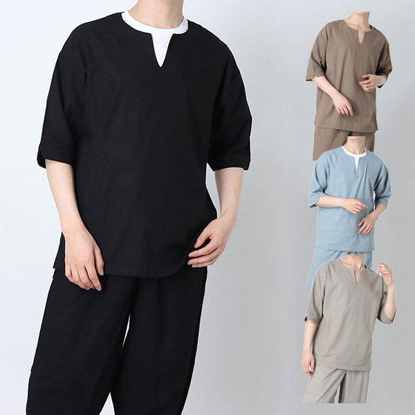 麻混キーネックプルオーバーシャツ
