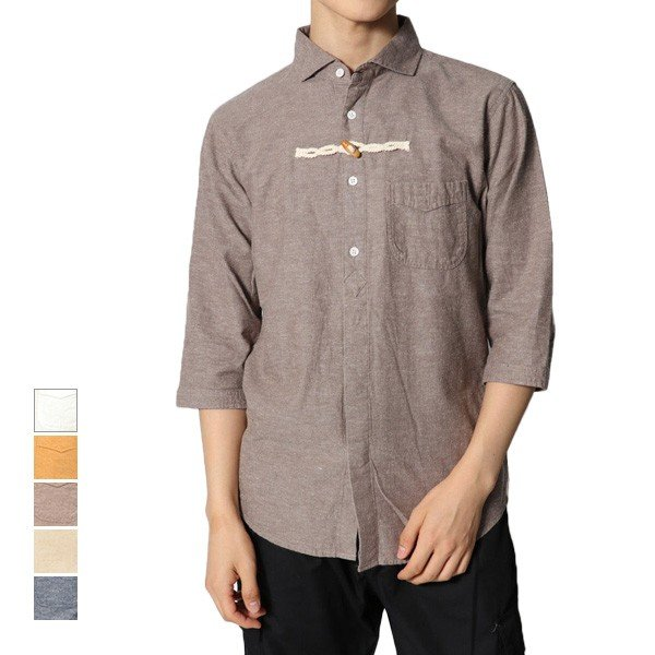 5分袖トグル使いプルオーバー風シャツ