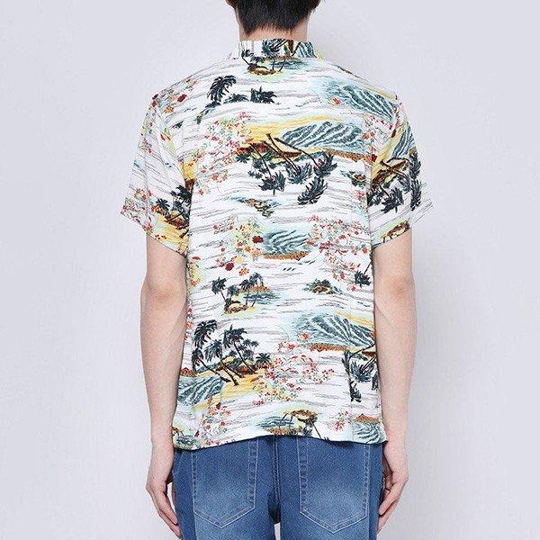 総柄開襟レーヨンアロハシャツ