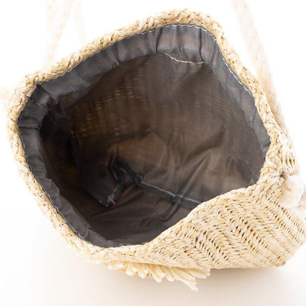 フラワーデザイン巾着型ショルダーバッグ