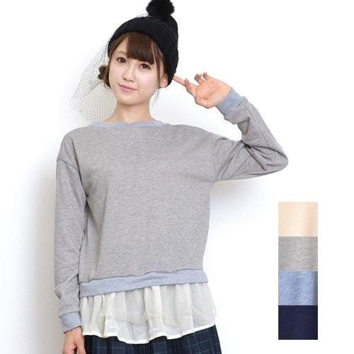 裾シフォン&チュールレイヤード風スウェットトップス