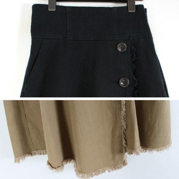 綿ツイルハイウエストフリンジフレアスカート