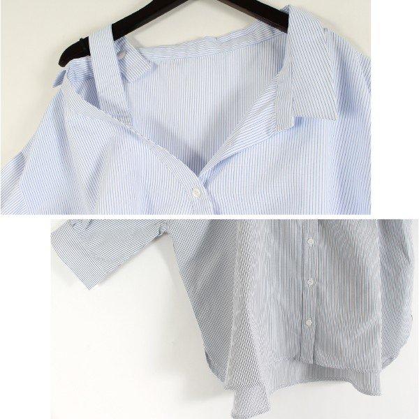 先染めストライプアシンメトリーカラーシャツ