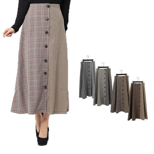 先染めチェック柄切替フロント釦スカート