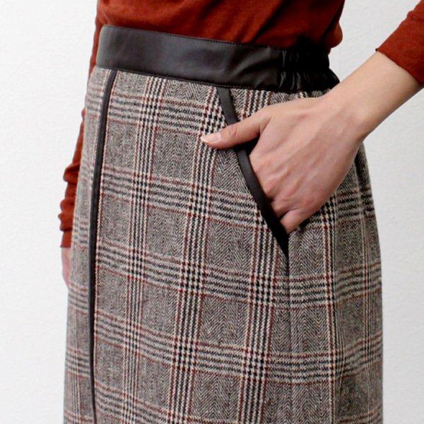 先染めオーバーチェック合皮パイピングスカート