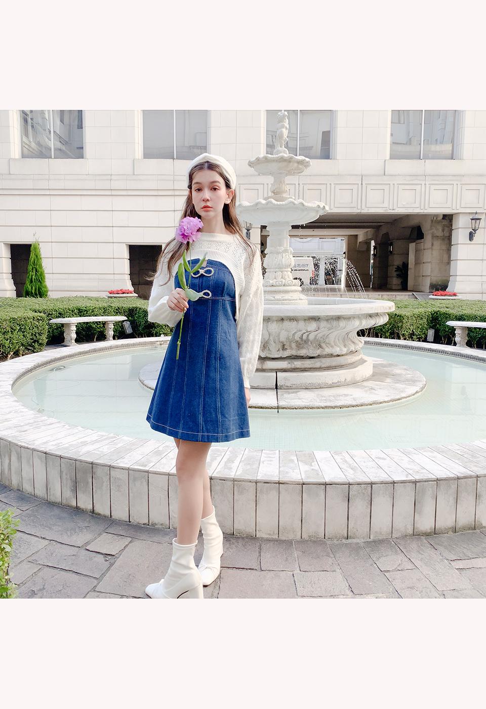 ビジューリボンタイトミニジャンパースカート