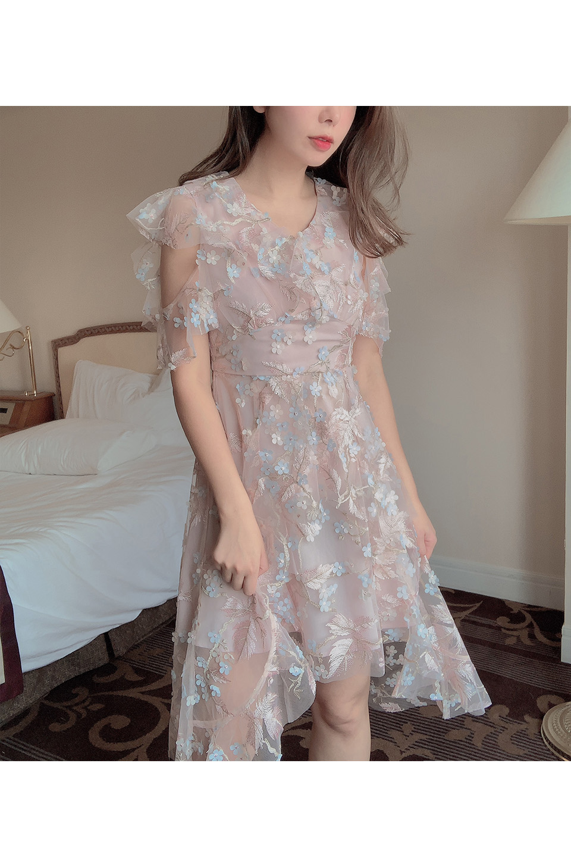 3Dフラワーチュールハイウエストドレス