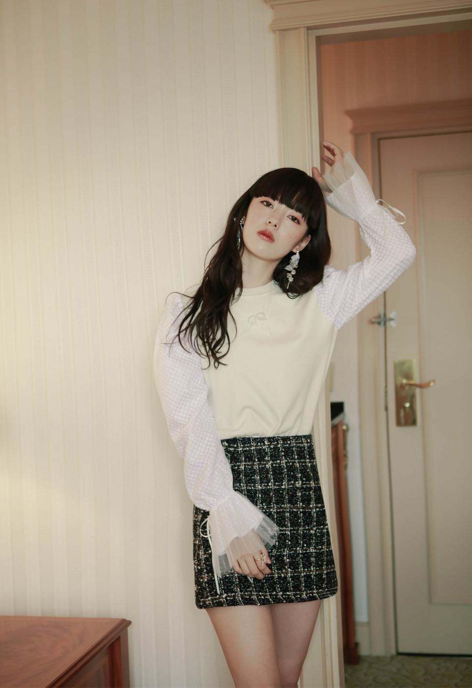 【一部予約販売】ツイード柄ミニ台形スカート