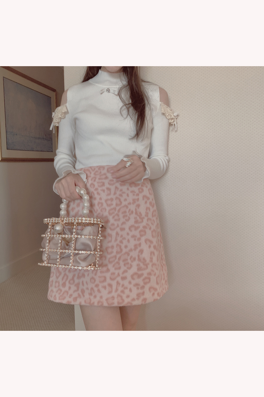 【予約販売】ヒョウ柄台形ミニスカート