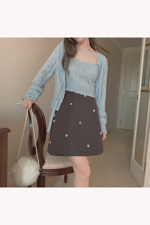 【予約販売】パール花柄ヴィンテージライク台形ミニスカート