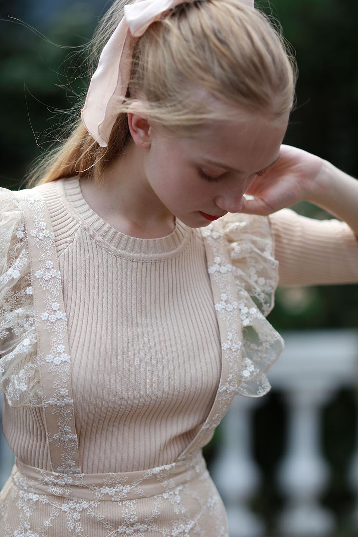 取り外し可能刺繍フレアサスペンダースカート