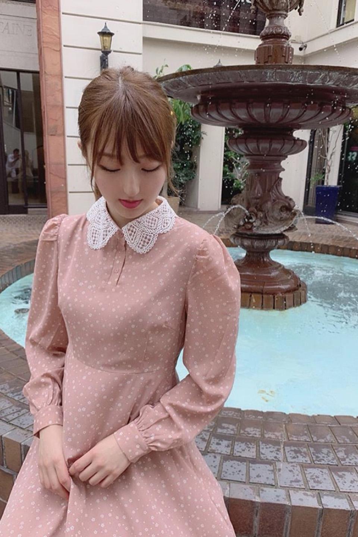 刺繍襟花柄ロングワンピース