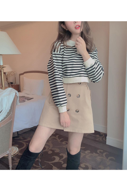 【ELCY】ベルト付きハイウェストトレンチミニスカート