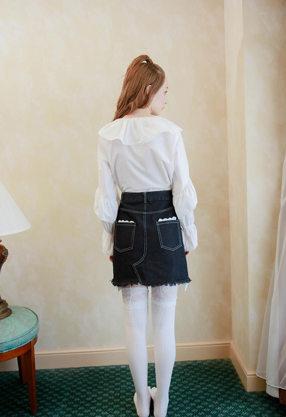 【予約販売】レイヤードレースデニムミニスカート