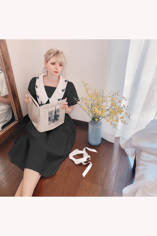 ヴィンテージライク刺繍襟ワンピース