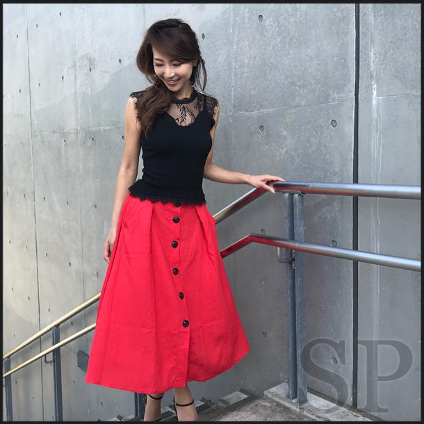 【50%off】フロントボタンフレアスカート