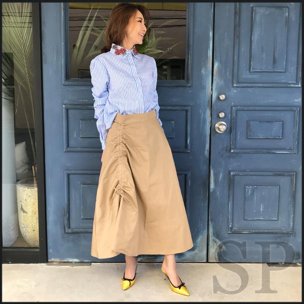 【40%off】コットンギャザーロングスカート