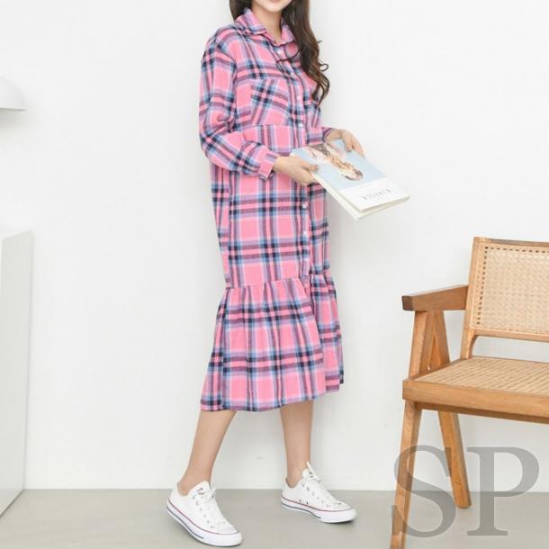 【即納可】裾フリルチェックシャツワンピース