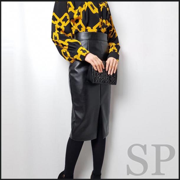 【即納可】フロントスリットレザー調タイトスカート