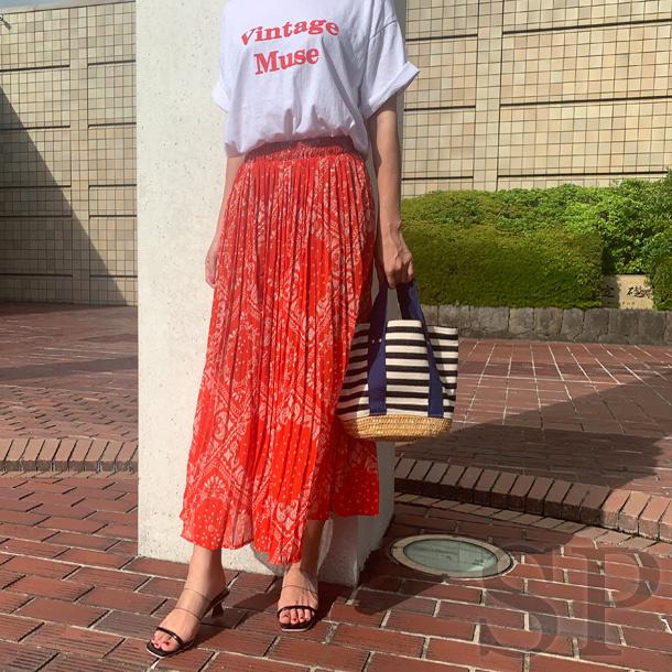 【即納可】バンダナペイズリープリーツスカート