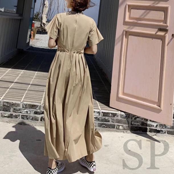 【50%off】後ろプリーツワイドジャンプスーツ