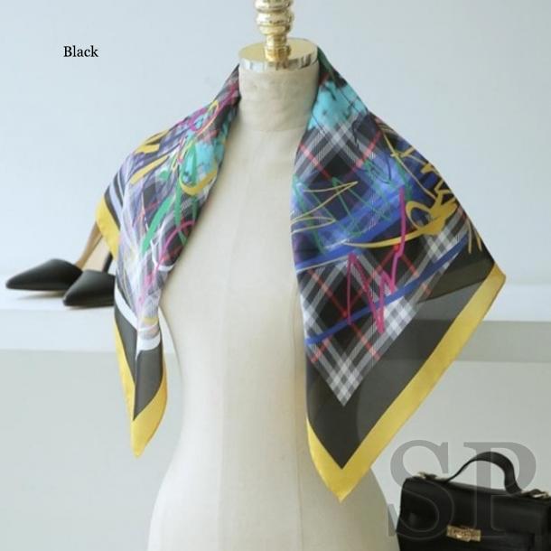 【一部即納可】チェックグラフィック正方形スカーフ