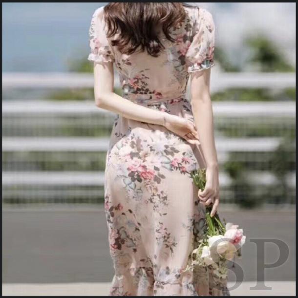 【即納可】シフォンカシュクール花柄ロングワンピース