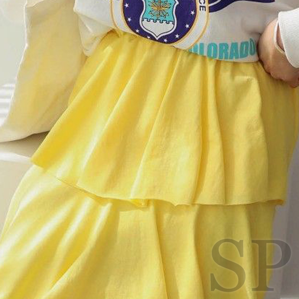 【即納可】スウェット素材フリルロングスカート