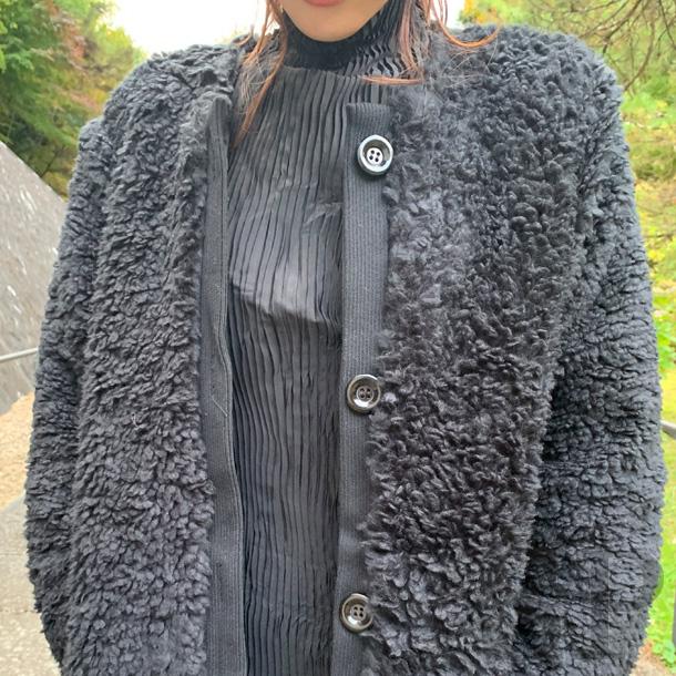 【即納可】エコファー巻き毛ロングコート