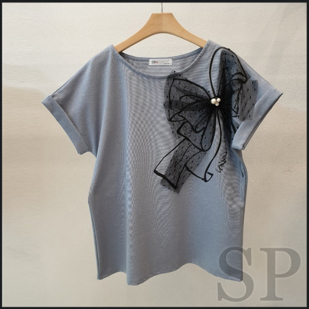【即納可】3Dチュールリボン半袖カットソー