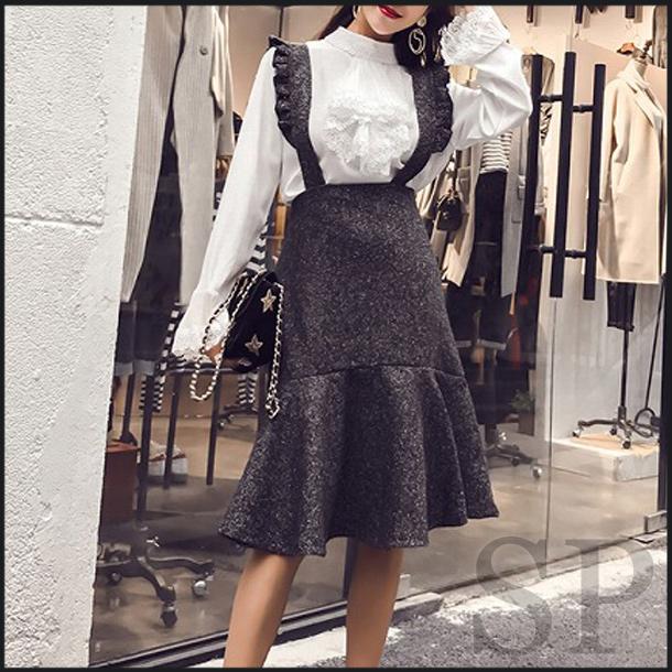 【50%off】フリルサスペンダージャンパースカート