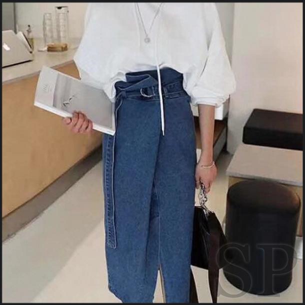 【即納可】ハイウエストデニムロングスカート
