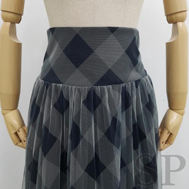 【30%off】ブロックチェックチュールレーススカート