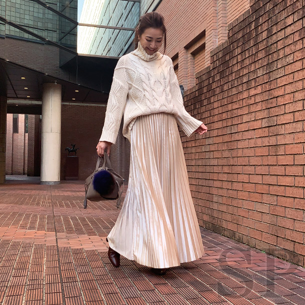 【即納可】マキシ丈メタリックベロアスカート