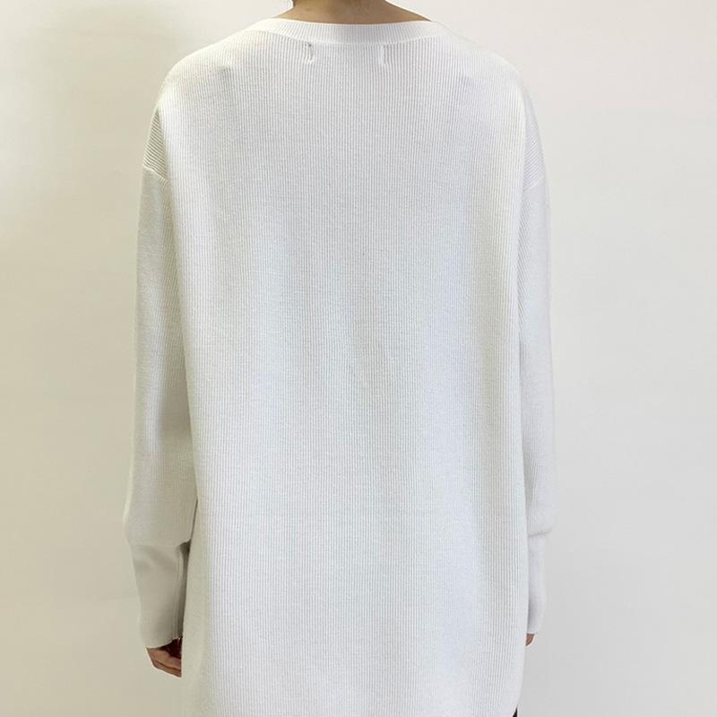 サーマル編みヘムラインプルオーバー