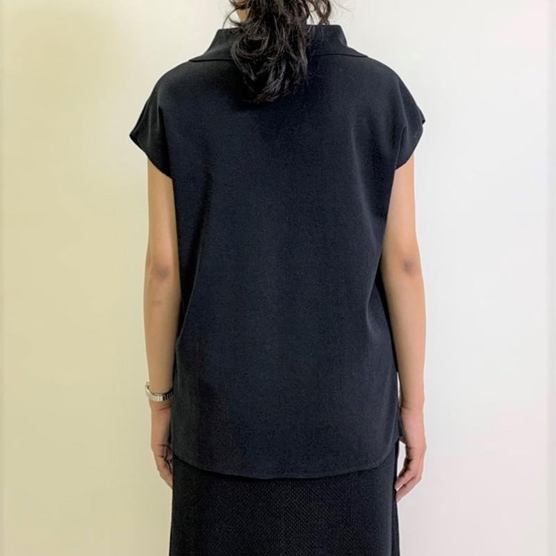 衿付きニットプルオーバー