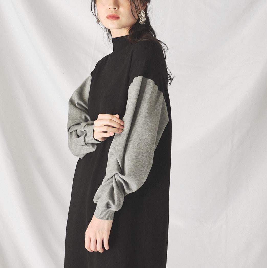 ニット×カットソー袖デザインワンピース