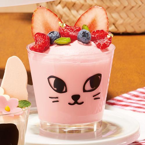 【日本製】PS 76-185 スタンダード クロネコ 500個 <br>【ねこ柄 猫 ネコ模様 デザートカップ プリンカップ プリン型 プラスチック容器 カップ】