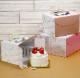 【デコレーション ケーキ箱】【日本製】キャリーデコ箱 リッチパステル4.5号 グリーン(内寸157×157×140H)100個<br>【ホールケーキ プリン 箱 持ち運び ラッピング】【出し入れしやすい横開き】【保冷剤スペースあり】