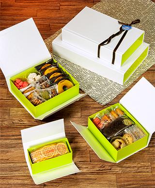 【送料無料】マジックBOX 白×緑 S 200×150×70Hmm 80個【ワンタッチ組立ての貼り箱 省スペース】