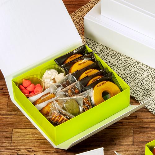【送料無料】マジックBOX 白×緑 M 230×200×70Hmm 50個【ワンタッチ組立ての貼り箱 省スペース】
