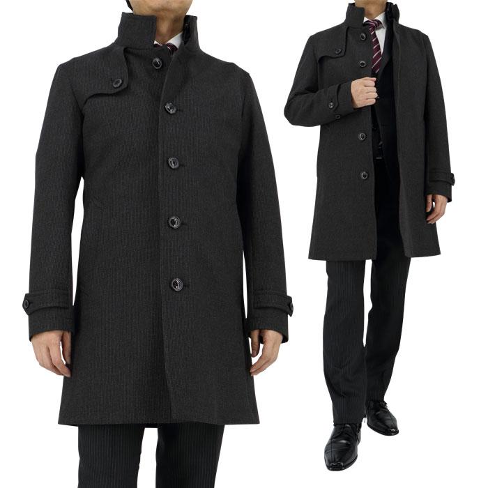[35Y065-33]コート メンズ ポリエステル ボンディング 軽量 ビジネスコート メンズ ハーフ グレー チェック 秋冬物 スリム(Y体・A体) 細身 スタンドカラー コート