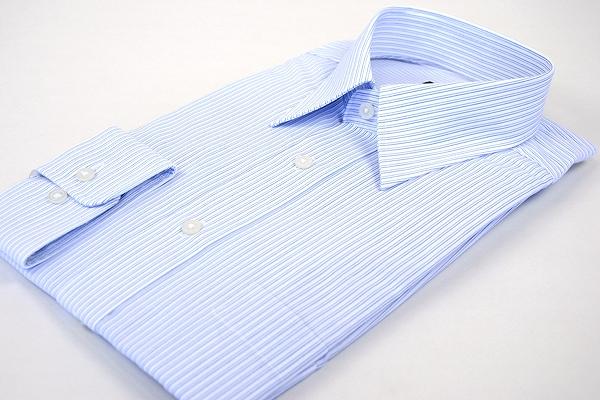 [38Z014-21]長袖 形態安定ワイシャツ レギュラーカラー 紺 ブルー ストライプ
